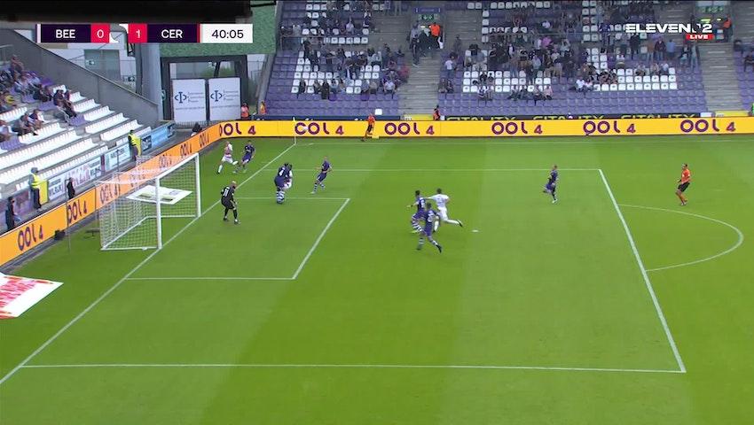 Doelpunt Olivier Deman (K. Beerschot V.A. vs. Cercle Brugge)