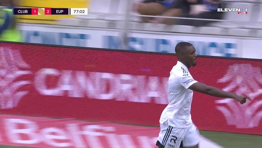 Doelpunt Julien Ngoy (Club Brugge vs. KAS Eupen)