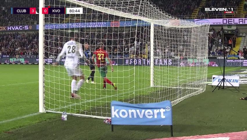 Doelpunt Noa Lang (Club Brugge vs. KV Oostende)