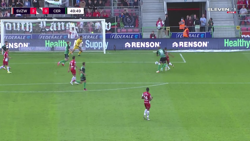 Doelpunt Zinho Gano (SV Zulte Waregem vs. Cercle Brugge)