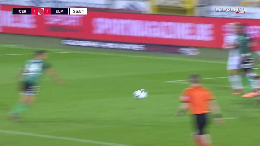 Doelpunt Charles Vanhoutte (Cercle Brugge vs. KAS Eupen)