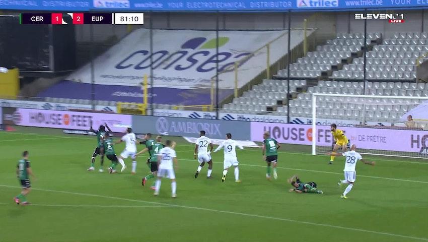 Doelpunt Emmanuel Agbadou (Cercle Brugge vs. KAS Eupen)