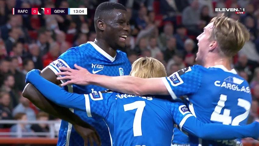Doelpunt Paul Onuachu (Royal Antwerp FC vs. KRC Genk)