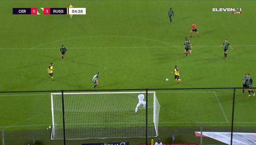 Doelpunt Loic Lapoussin (Cercle Brugge vs. Union Saint-Gilloise)