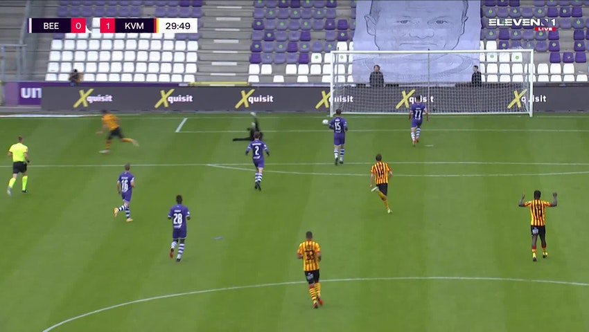 Doelpunt Kerim Mrabti (K. Beerschot V.A. vs. KV Mechelen)