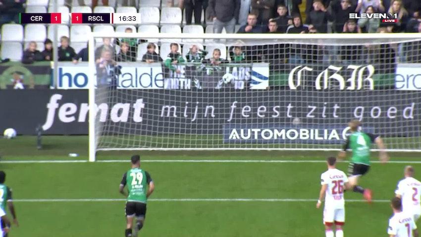 Doelpunt Jesper Daland (Cercle Brugge vs. Standard de Liège)