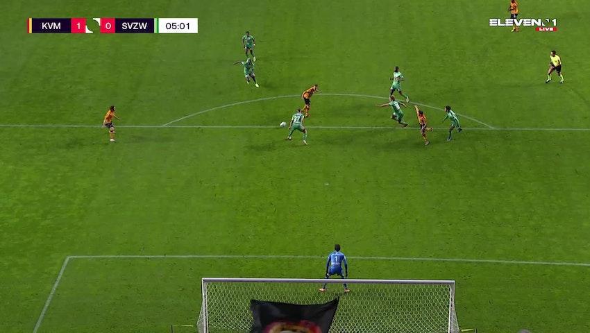 Doelpunt Hugo Cuypers (KV Mechelen vs. SV Zulte Waregem)