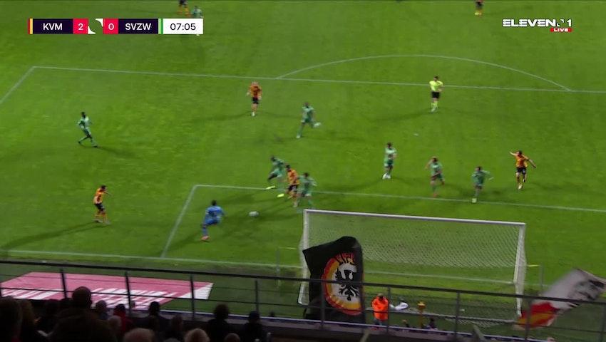 Doelpunt Sandy Walsh (KV Mechelen vs. SV Zulte Waregem)