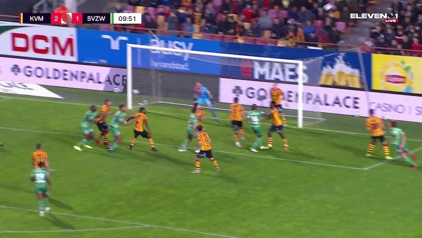 Doelpunt Zinho Gano (KV Mechelen vs. SV Zulte Waregem)