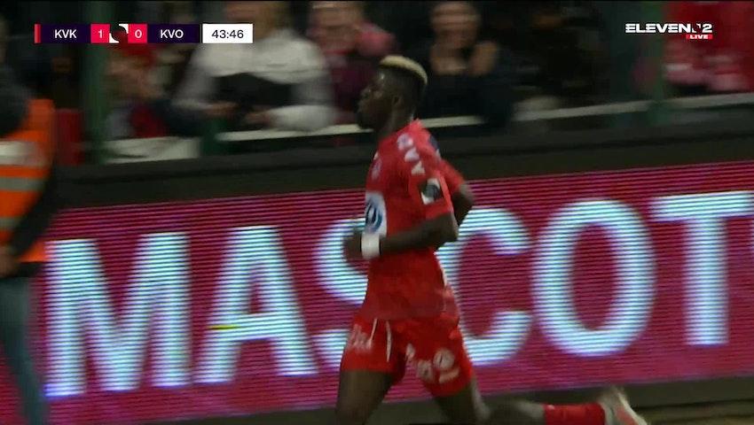 Doelpunt Pape Habib Gueye (KV Kortrijk vs. KV Oostende)