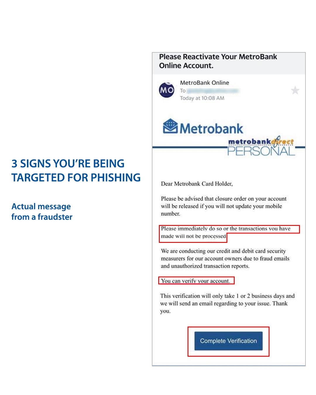 Actual screenshot of a phishing email