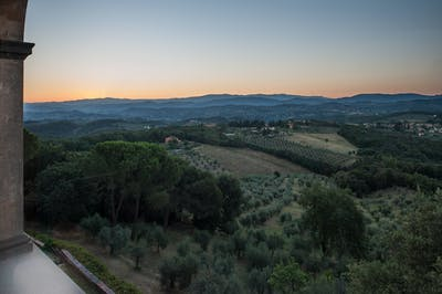 The Chianti hills as seen from the living room of Villa La Tavernaccia.