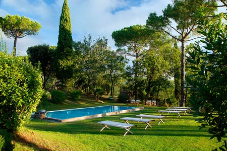 The heated swimming pool in the garden of Villa La Tavernaccia, surrounded by trees