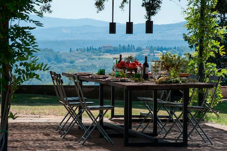 The table under the veranda with the view on the Chianti hills.
