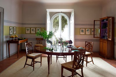 The Breakfast room in the ground floor of Villa Tavernaccia, near the rear exit of the villa