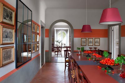 The dining room on the ground floor of Villa Tavernaccia, near the exit