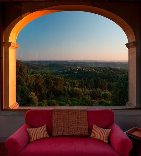 The view on the Chianti Hills from the living room situated in the tower of Villa Tavernaccia