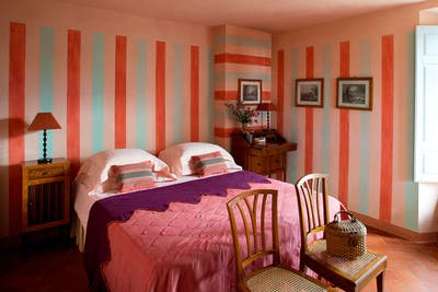 The double bedroom situated in the tower of Villa Tavernaccia