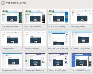 Example of results for different web-based clients in Litmus