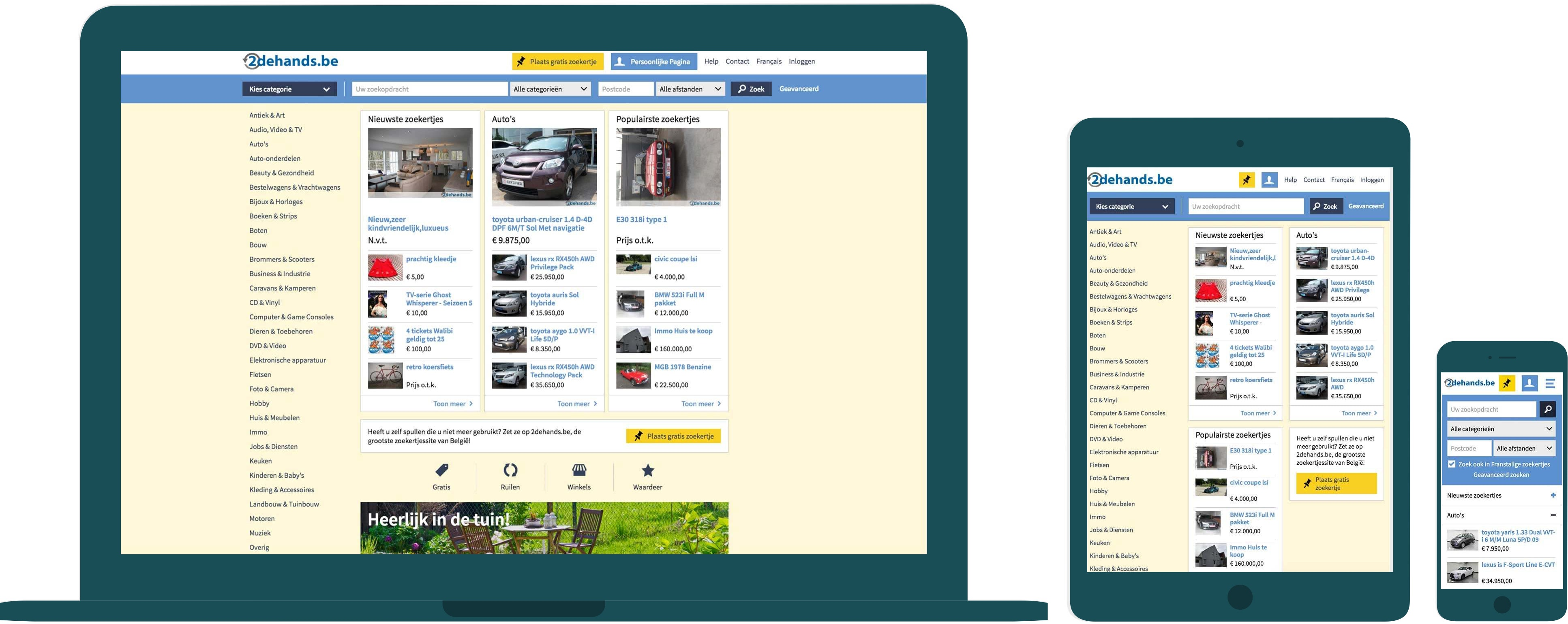 The 2dehands.be website displayed on a desktop, tablet and mobile device