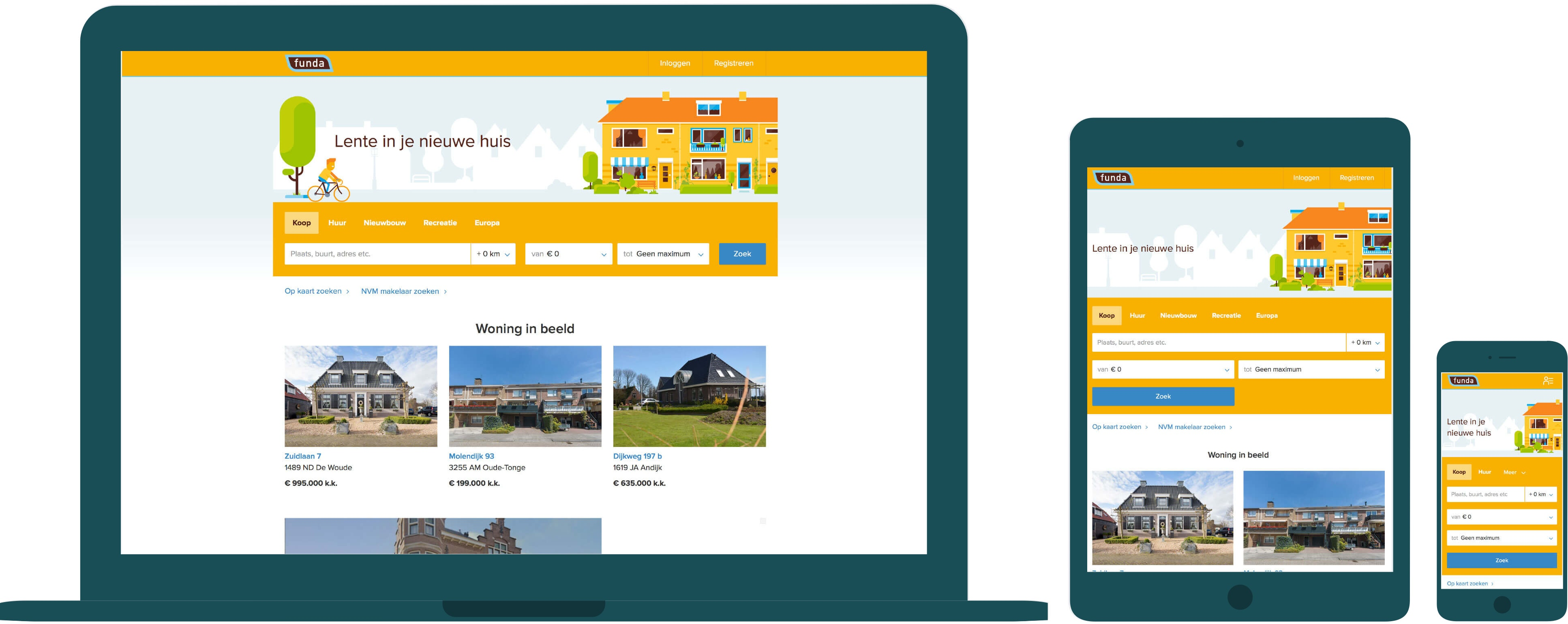 The Funda website displayed on a desktop, tablet and mobile device