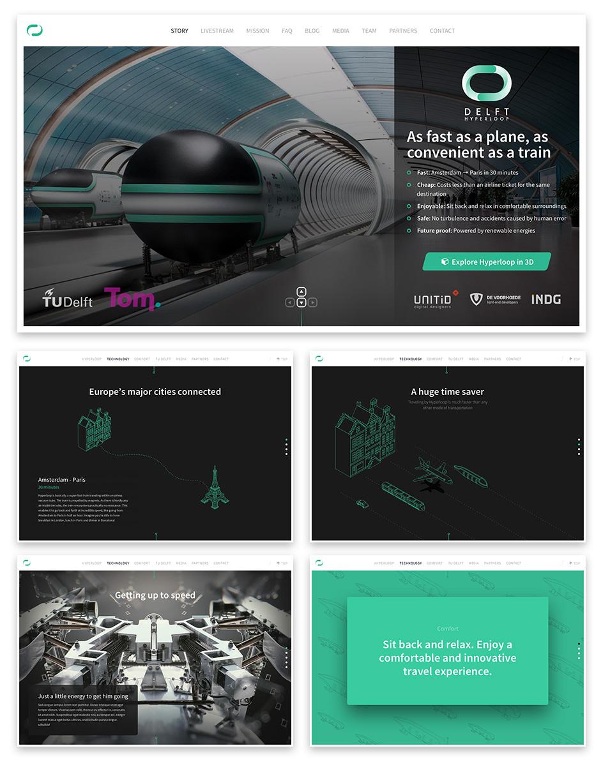 Vijftal screenshots van de Delft Hyperloop website