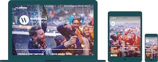 De RTL Weekend Magazine website weergegeven op desktop, tablet en mobiel