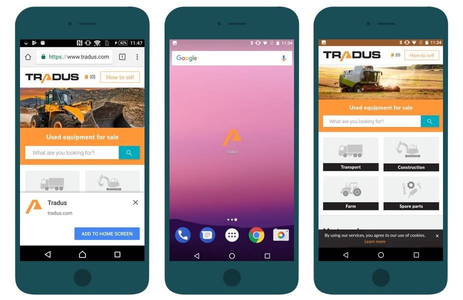 Tradus is installable and available offline on smartphones