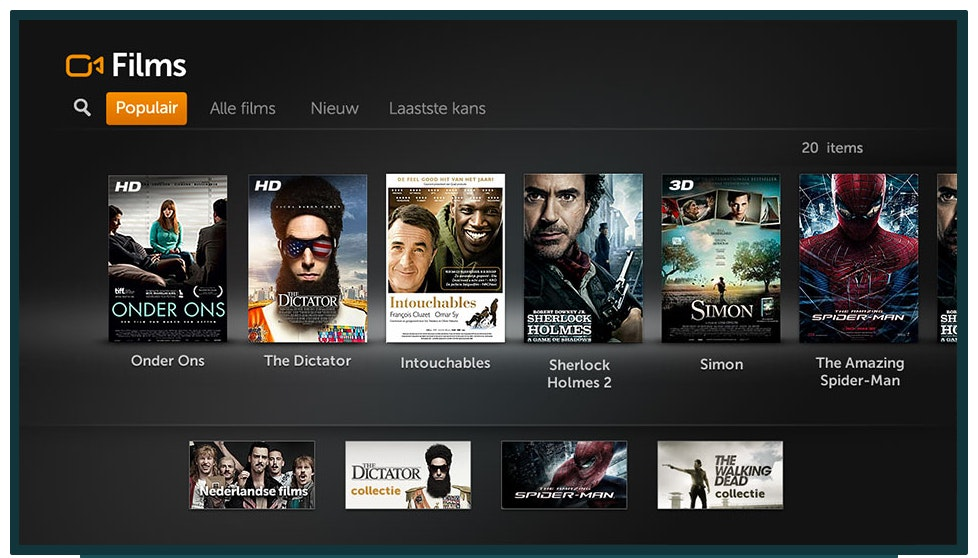 Overview of action movies in the new user interface