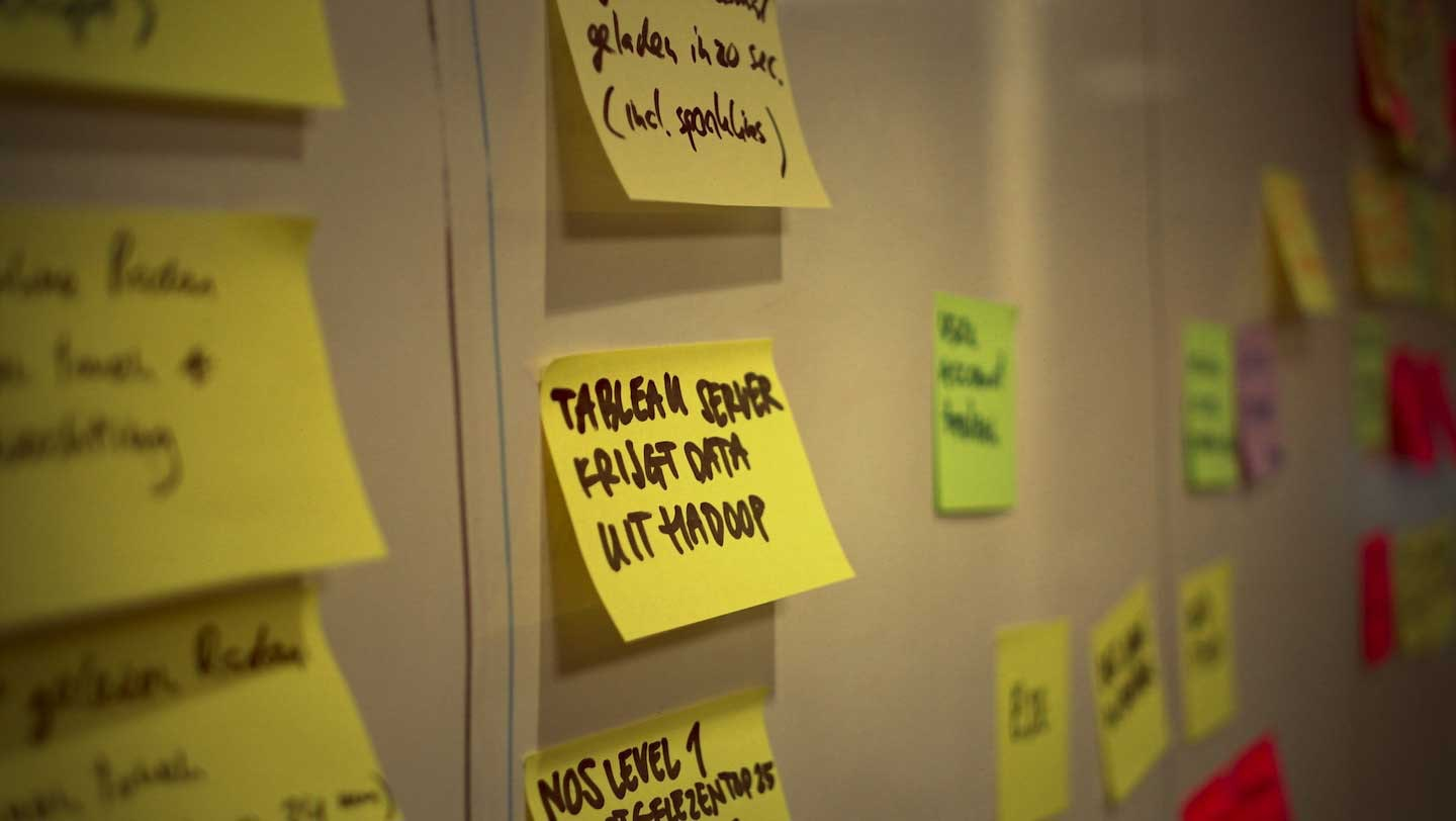 Post-its on a board as part of the Kanban work method
