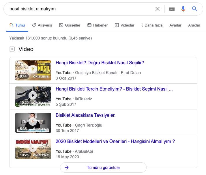 Google Youtube Sayfa Sonuçları SERP