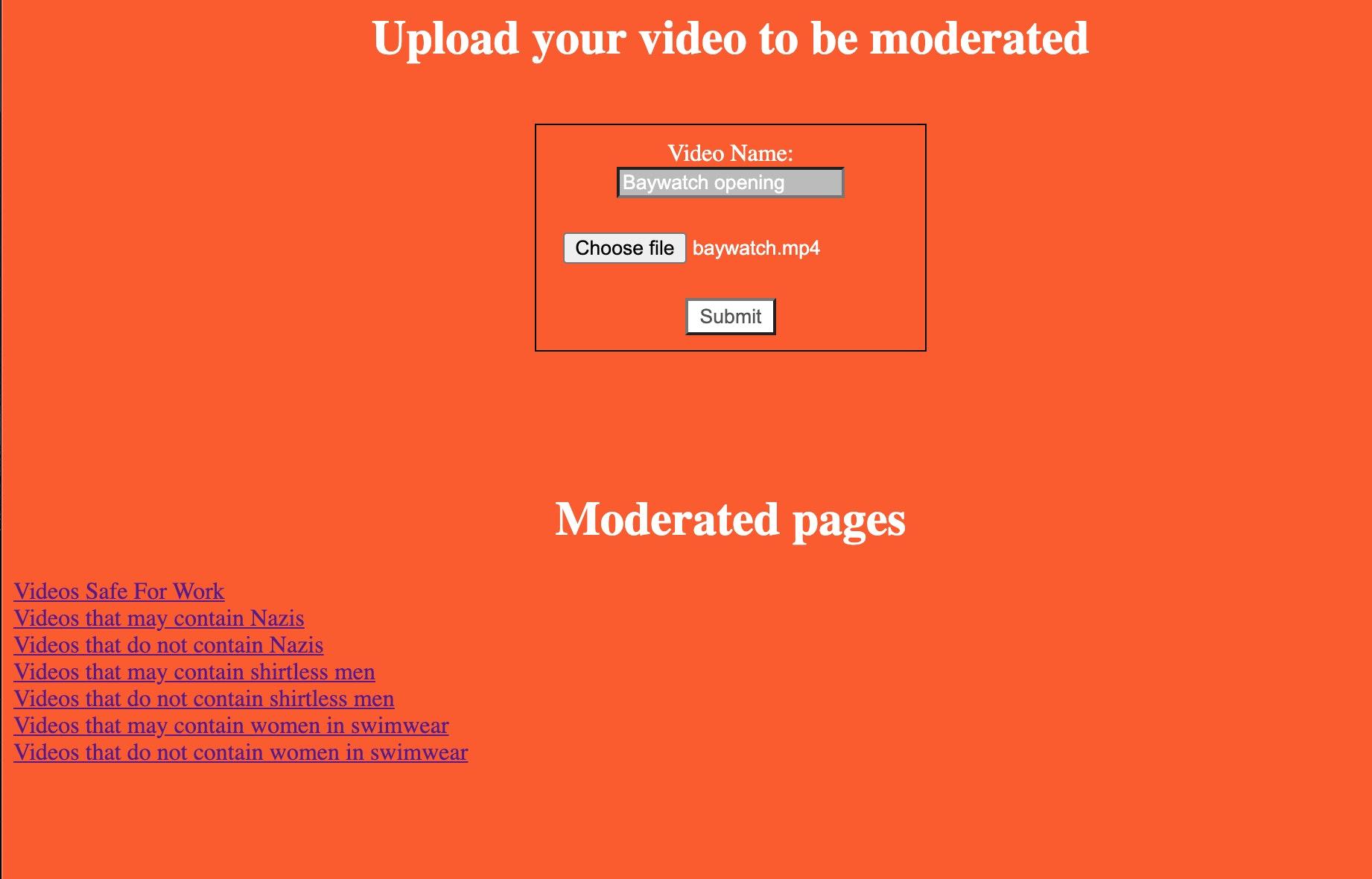 moderation landing page