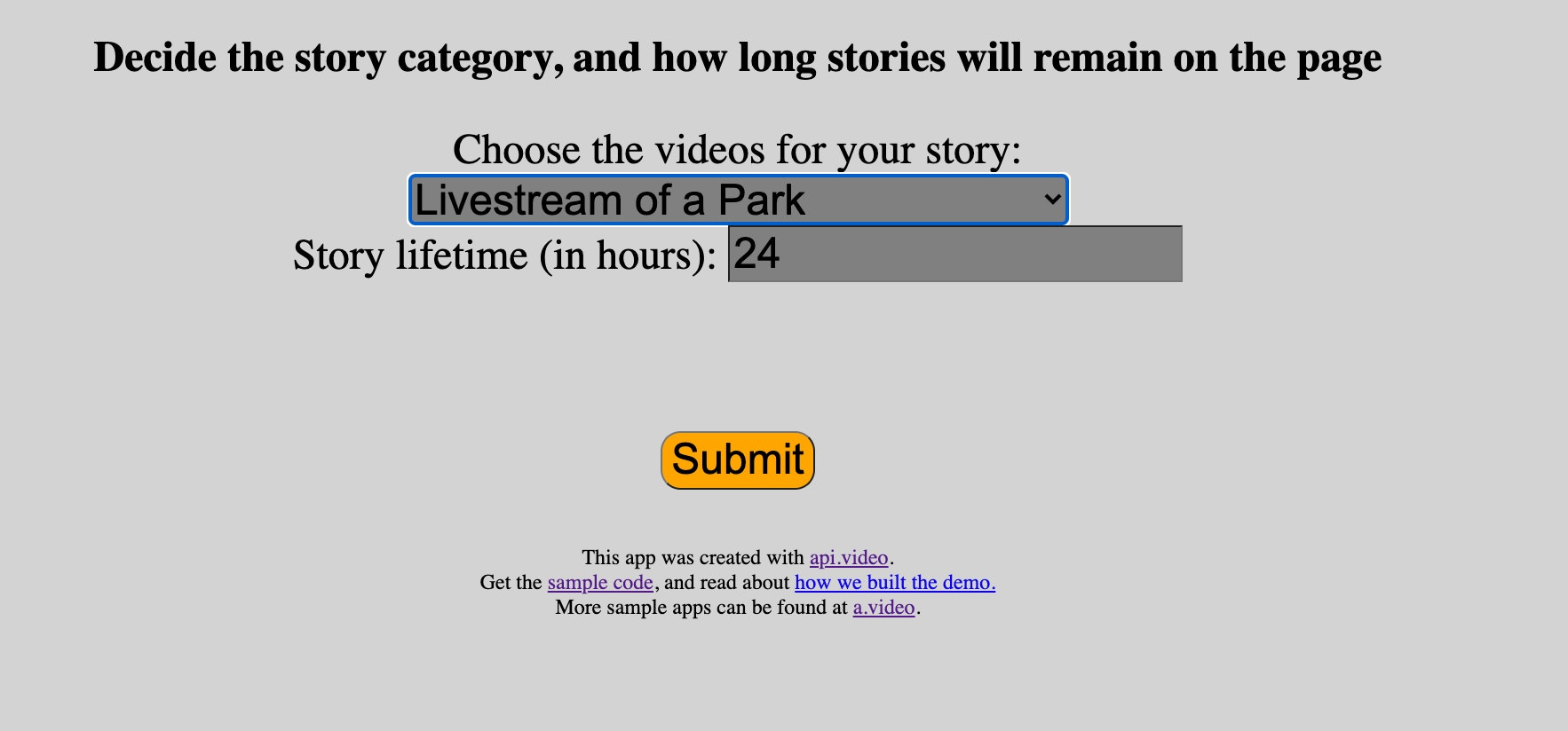 screenshot of form to build story