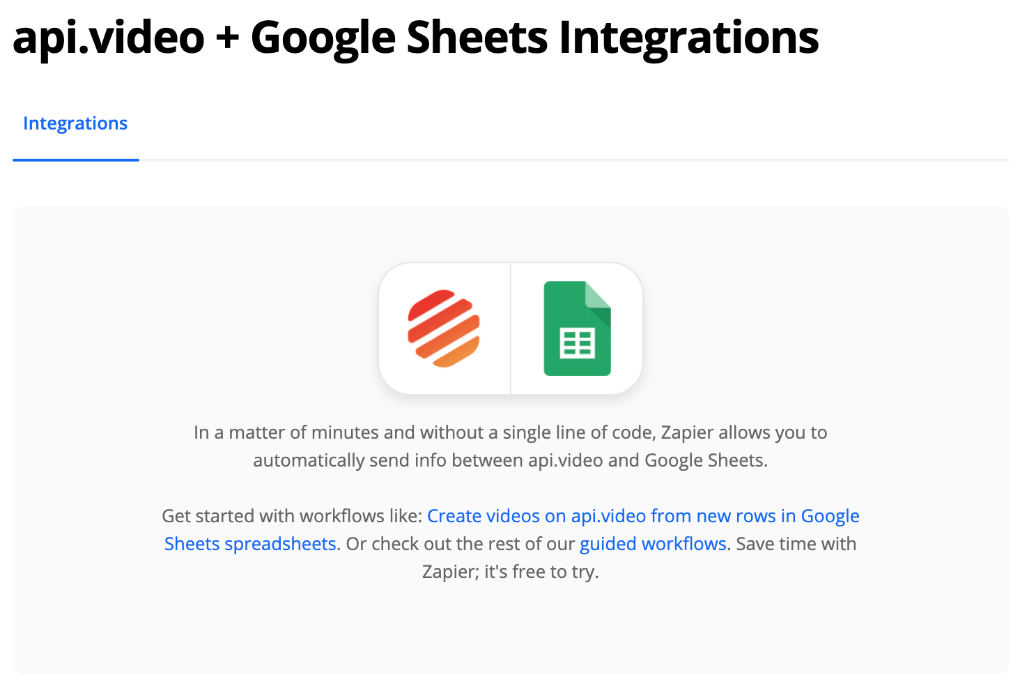 Update a Google Spreadsheet Every Time You Add a Video to api.video (Zapier)