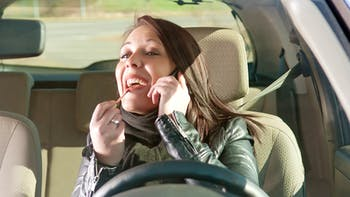 Distracted driver talking on phone