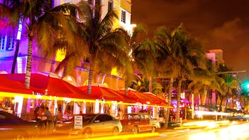 Ocean Drive scene at night lights, Miami beach, Florida, USA