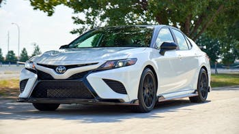 2020 White Toyota Camry parked