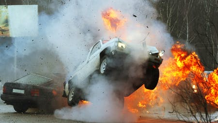 Car crash with explosion