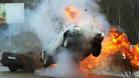 Car crash with explosion
