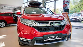 Red Honda CR-V presented in the show room
