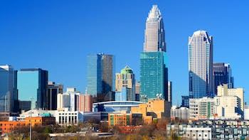 Skyline of uptown in Charlotte in North Carolina