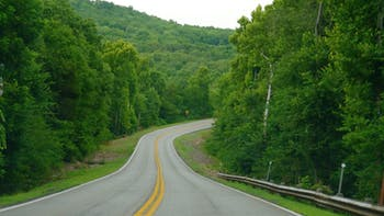 Winding road in the countryside in Oklahoma