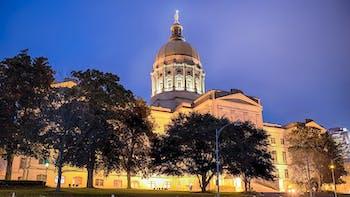 Georgia state of capitol in Atlanta at night