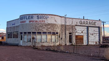 Run down auto repair shop