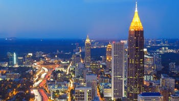 CIty lights and buildings in Atlanta