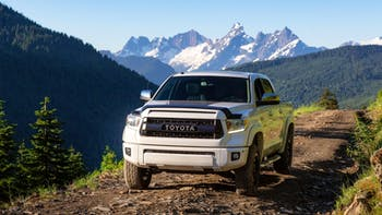 Toyota Tacoma in off road trails in the mountains