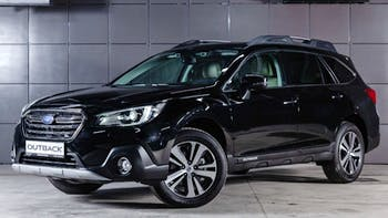 Front view of Black Subaru Outback