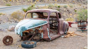 Old parts car in desert