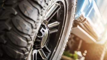 Close up of an off road truck tire
