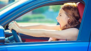 Road raging woman